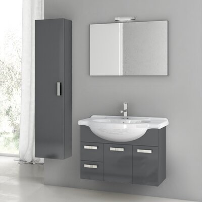 Cubical 31.5 Single Bathroom Vanity Set with Mirror Base Finish: Glossy Anthracite