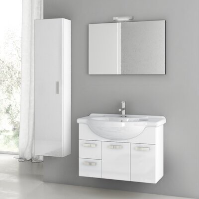 Cubical 31.5 Single Bathroom Vanity Set with Mirror Base Finish: Glossy White