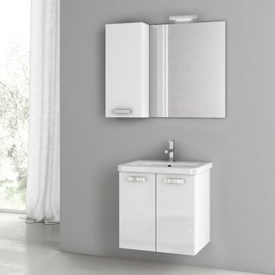City Play 22 Single Bathroom Vanity Set with Mirror Base Finish: Gray Oak Senlis