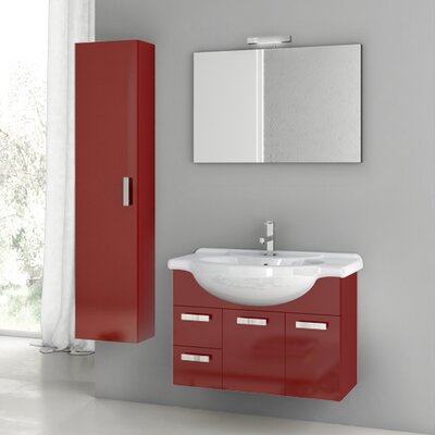 Cubical 31.5 Single Bathroom Vanity Set with Mirror Base Finish: Glossy Red