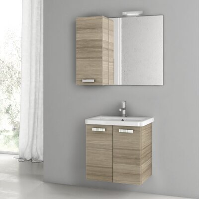 City Play 22 Single Bathroom Vanity Set with Mirror Base Finish: Larch Canapa