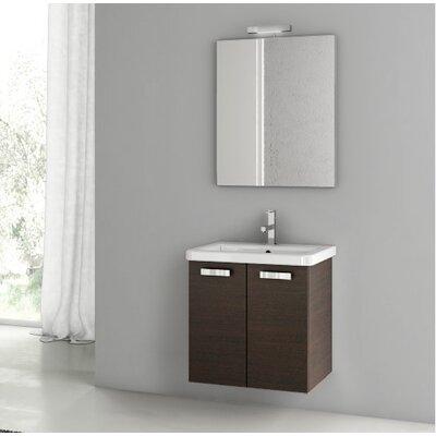 City Play 22 Single Bathroom Vanity Set with Mirror Base Finish: Wenge