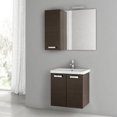 City Play 22 Single Bathroom Vanity Set with Mirror Base Finish: Wenge