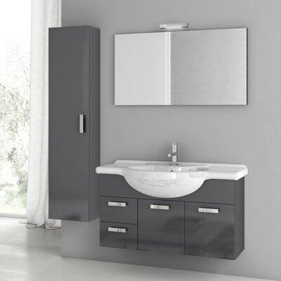 Phinex 39.4 Single Bathroom Vanity Set with Mirror Base Finish: Glossy Anthracite