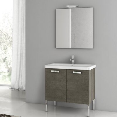 City Play 29.9 Single Bathroom Vanity Set with Mirror Base Finish: Glossy White