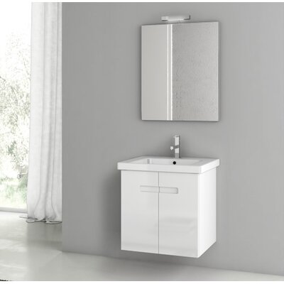 New York 24.4 Single Bathroom Vanity Set with Mirror Base Finish: Glossy White