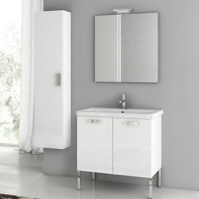 City Play 29.9 Single Bathroom Vanity Set with Mirror Base Finish: Wenge