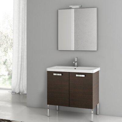 City Play 29.9 Single Bathroom Vanity Set with Mirror Base Finish: Wenge