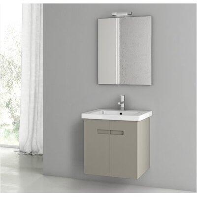 New York 24.4 Single Bathroom Vanity Set with Mirror Base Finish: Matt Canapa