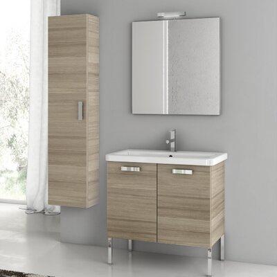 City Play 29.9 Single Bathroom Vanity Set with Mirror Base Finish: Larch Canapa