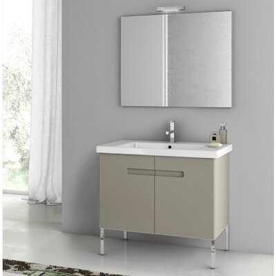 New York 32.3 Single Bathroom Vanity Set with Mirror Base Finish: Matt Canapa