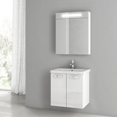 City Play 22 Single Bathroom Vanity Set with Mirror Base Finish: Glossy White