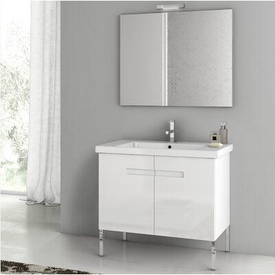 New York 32.3 Single Bathroom Vanity Set with Mirror Base Finish: Glossy White