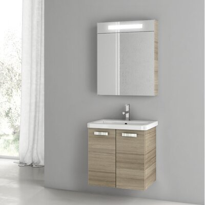 City Play 29.9 Single Bathroom Vanity Set with Mirror Base Finish: Larch Canapa
