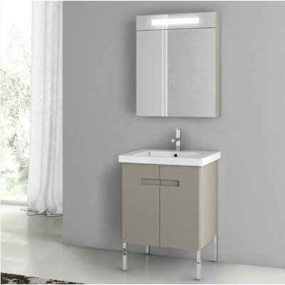 New York 24.4 Single Bathroom Vanity Set Base Finish: Matt Canapa