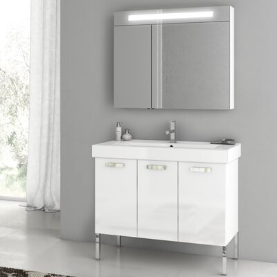 Cubical 37.4 Single Bathroom Vanity Set Base Finish: Glossy White