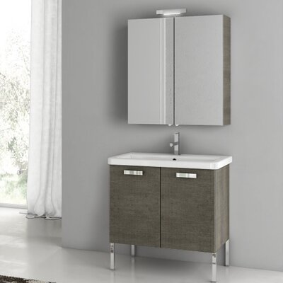 City Play 29.9 Single Bathroom Vanity Set with Mirror Base Finish: Gray Oak Senlis