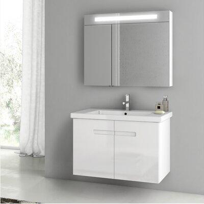 New York 24.4 �Single Bathroom Vanity Set Base Finish: Glossy White