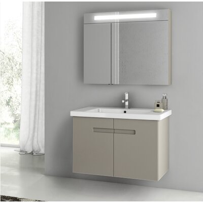 New York 24.4 �Single Bathroom Vanity Set Base Finish: Matt Canapa