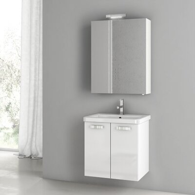 City Play 22 Single Bathroom Vanity Set Base Finish: Glossy White