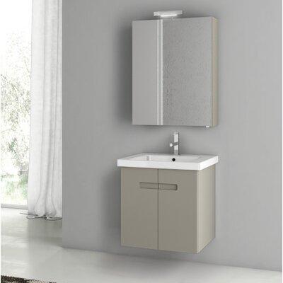 New York 24.4 Single Bathroom Vanity Set Base Finish: Matt Canapa