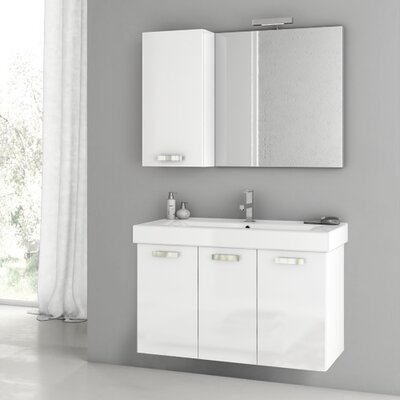 Cubical 37.4 Single Bathroom Vanity Set with Mirror Base Finish: Wenge