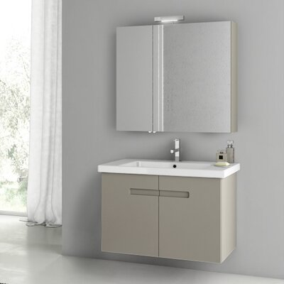 New York 32.3 Single Bathroom Vanity Set Base Finish: Matt Canapa
