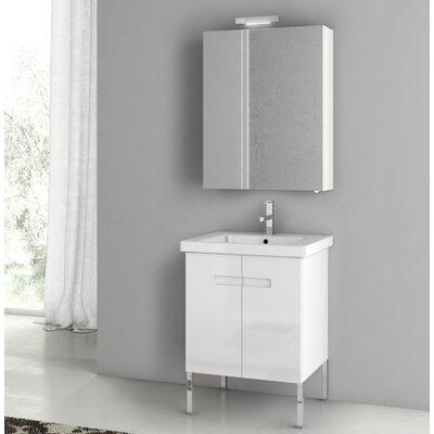 New York 24.4 Single Bathroom Vanity Set Base Finish: Glossy White