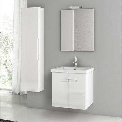 New York 24.4 Single Bathroom Vanity Set with Mirror Base Finish: Glossy White