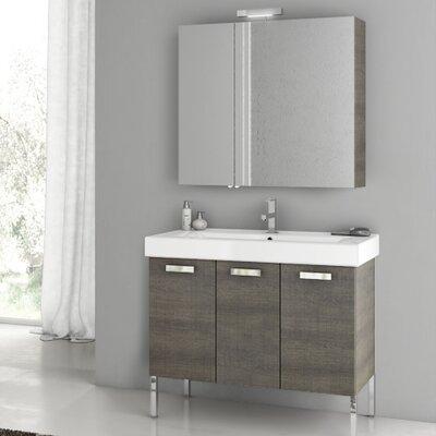 Cubical 37.4 Single Vanity Set Base Finish: Gray Oak Senlis