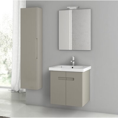 New York 24.4 Single Bathroom Vanity Set with Mirror Base Finish: Matt Canapa