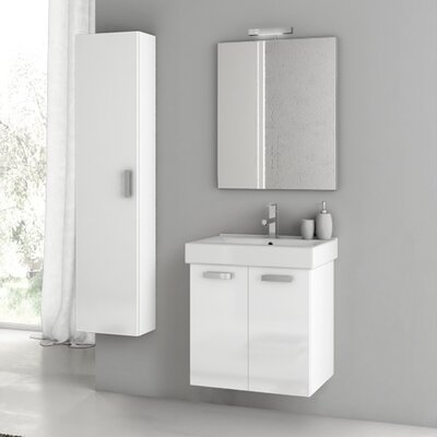 Cubical 21.9 Single Bathroom Vanity Set with Mirror Base Finish: Gray Oak Senlis