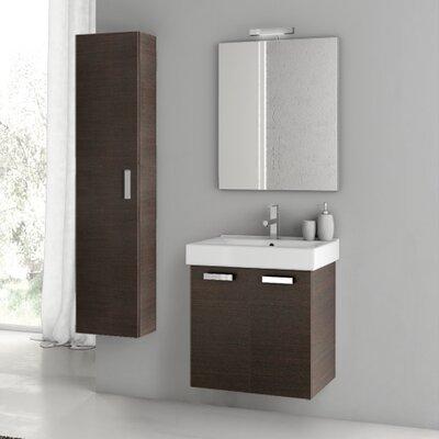 Cubical 21.9 Single Bathroom Vanity Set with Mirror Base Finish: Wenge