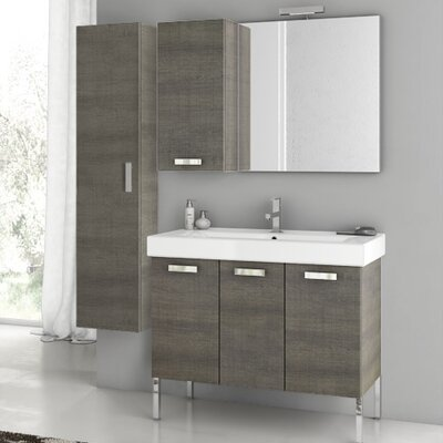 Cubical 37.4 Single Bathroom Vanity Set with Mirror Base Finish: Gray Oak Senlis