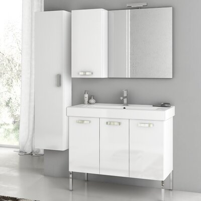 Cubical 37.4 Single Bathroom Vanity Set with Mirror Base Finish: Glossy White
