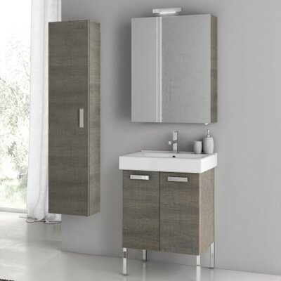 Cubical 21.9 Single Bathroom Vanity Set with Mirror Base Finish: Glossy White