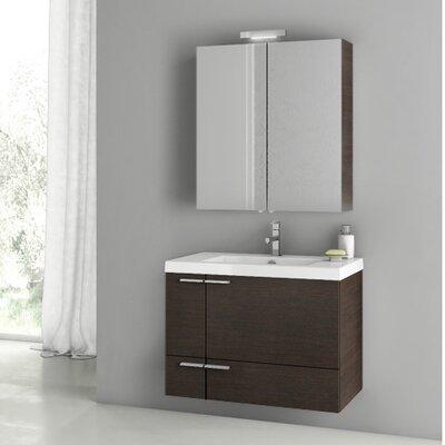 New Space 31.3 Single Bathroom Vanity Set Base Finish: Wenge