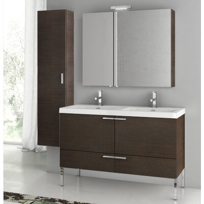 New Space 47 Bathroom Vanity Set with Mirror Base Finish: Wenge