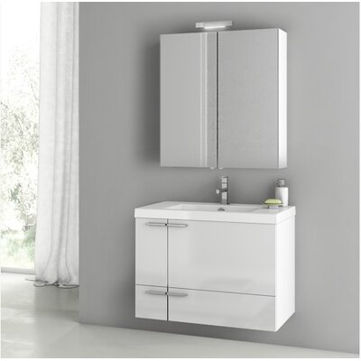 New Space 31.3 Single Bathroom Vanity Set Base Finish: Glossy White