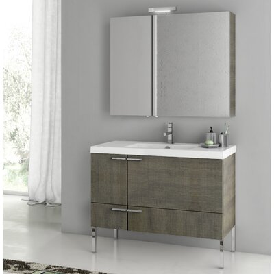 New Space 39.2 Single Bathroom Vanity Set Base Finish: Gray Oak Senlis
