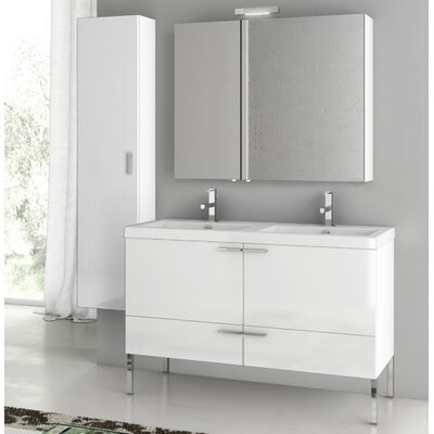New Space 47 Bathroom Vanity Set with Mirror Base Finish: Larch Canapa