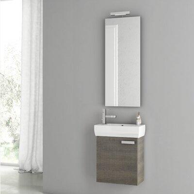 Cubical 17.7 Single Bathroom Vanity Set with Mirror Base Finish: Gray Oak Senlis