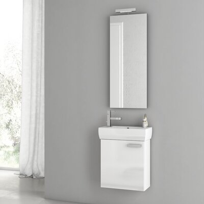 Cubical 17.7 Single Bathroom Vanity Set with Mirror Base Finish: Glossy White