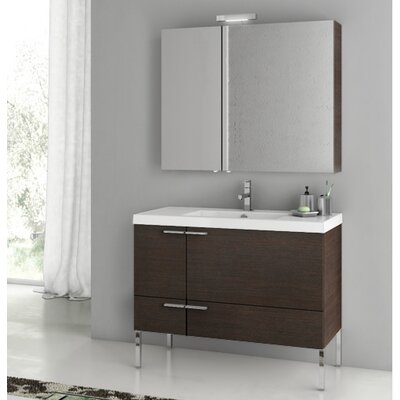 New Space 39.2 Single Bathroom Vanity Set Base Finish: Wenge