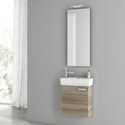 Cubical 17.7 Single Bathroom Vanity Set with Mirror Base Finish: Larch Canapa