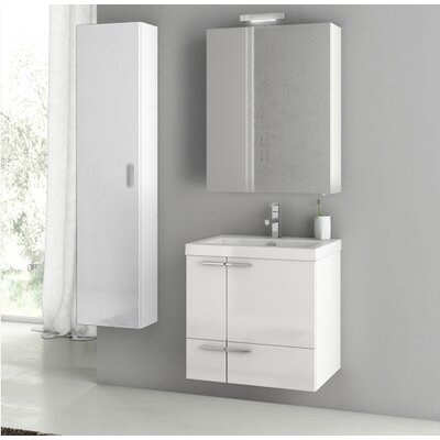 New Space 23.4 Single Bathroom Vanity Set Base Finish: Glossy White