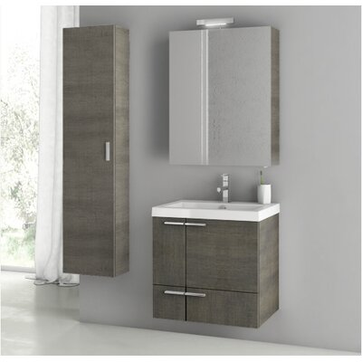 New Space 23.4 Single Bathroom Vanity Set Base Finish: Gray Oak Senlis