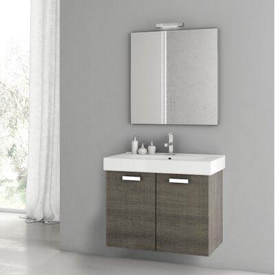 Cubical 30.1 Single Bathroom Vanity Set with Mirror Base Finish: Gray Oak Senlis