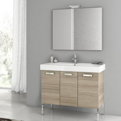 Cubical 37.4 Single Bathroom Vanity Set with Mirror Base Finish: Larch Canapa