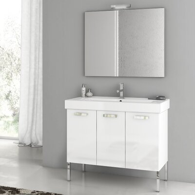 "Acf Cubical 41"" Single Bathroom Vanity Set With Mirror"